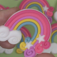 Rainbow Cloud and Stars Flatback Silicon Bendable Charms