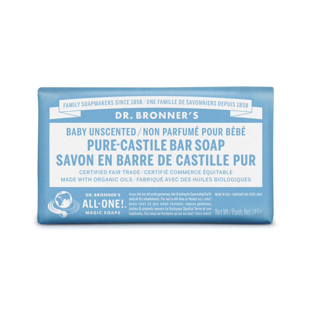 BARRE SAVON CASTILLE NON PARFUME BEBE DR BRONNERS PURE CASTILLE BABY UNSCENTED SOAP BAR STUDIO SKYN