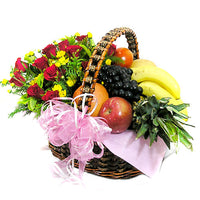 Gourmet Fruit Basket - Red and Yellow Flowers