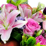 Gourmet Fruit Basket - Pink and Purple Flowers