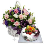 Sweet Romance Flower Basket and Cake - Purple & Pink
