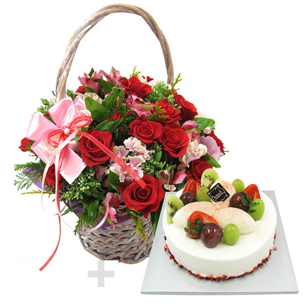 Sweet Romance Flower Basket and Cake - Red & Pink