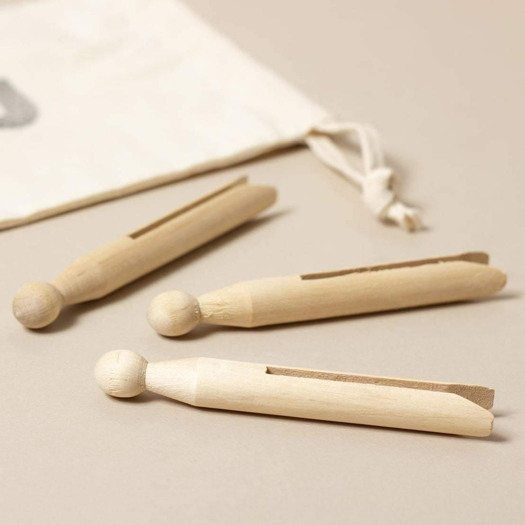 12 Wooden Clothes Pegs