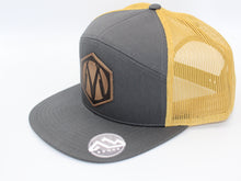 Load image into Gallery viewer, Martin Barber Co. 7 Panel Trucker Hat Charcoal/Gold