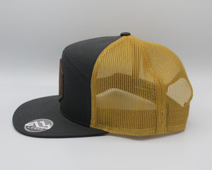 Martin Barber Co. 7 Panel Trucker Hat Charcoal/Gold