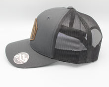 Load image into Gallery viewer, Martin Barber Co. 6 Panel Trucker Hat Charcoal/Black