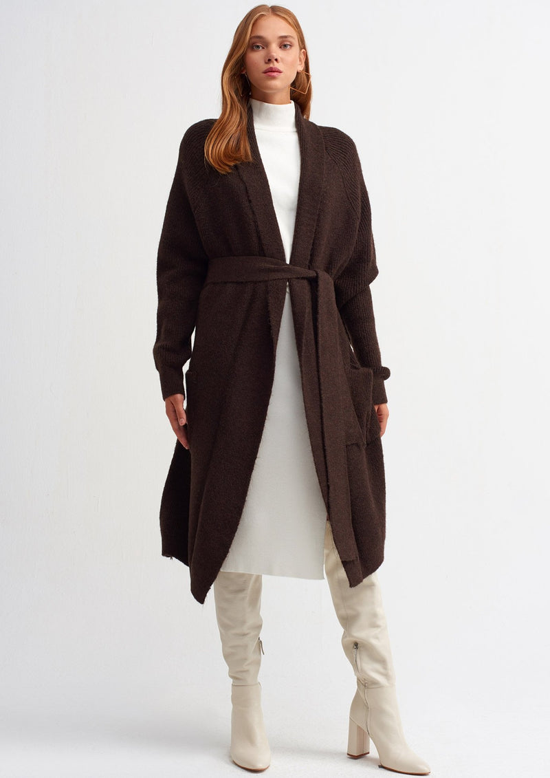 "Sarrah Belted Cardigan "" Brown"""