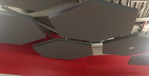 ADW Acoustic Panels mounted on Ceiling with Rotofast Cloud Anchors