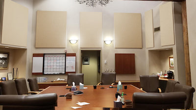Acoustic panels in conference room