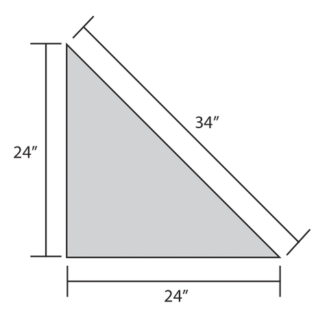 ADW Right Triangle Acoustic Panel Dimension Drawing