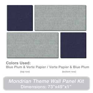 "ADW Acoustic Panels 73"" X 49"" X 1"" Mondrian Kit - Quick Easy DIY Install - Various Color Combos"