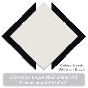 "ADW Acoustic Panels 40"" X 34"" X 2"" Diamond Layer Kit - Quick Easy DIY Install - Various Color Combos"