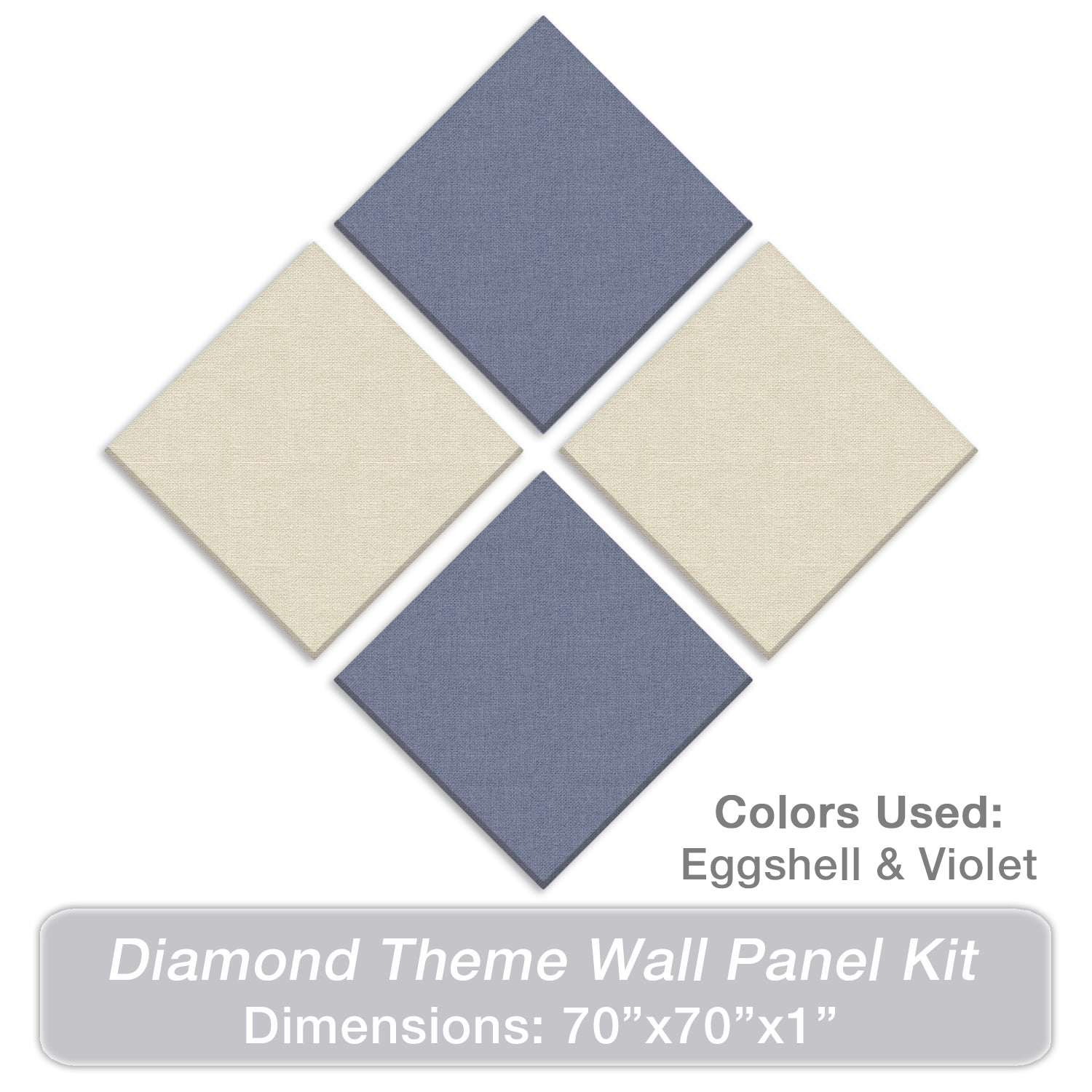 "ADW Acoustic Panels 70"" X 70"" X 1"" Diamond Theme Kit - Quick Easy DIY Install - Various Color Combos"