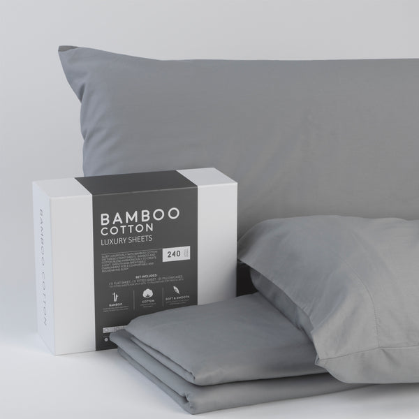 Bamboo Cotton Luxury Sheet Set - Grey - BlissfulNights.com