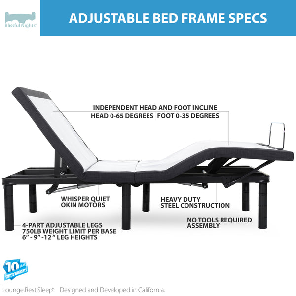 Adjustable Bed Base with Wireless Remote - BlissfulNights.com