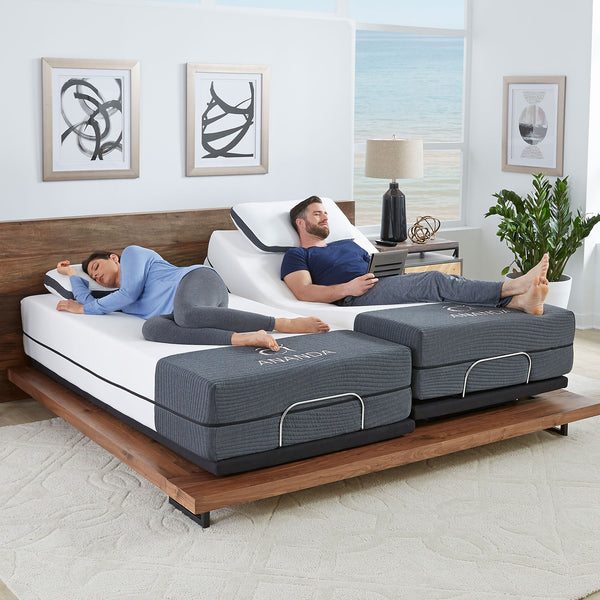 "12"" Ananda Cool Gel and Pearl Infused Memory Foam Mattress with Ananda Head Tilt Adjustable Bed Base Combo Set - BlissfulNights.com"