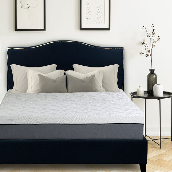 "Avery Upholstered Platform Bed, 50"" Tall Headboard - Midnight Blue Denim - BlissfulNights.com"