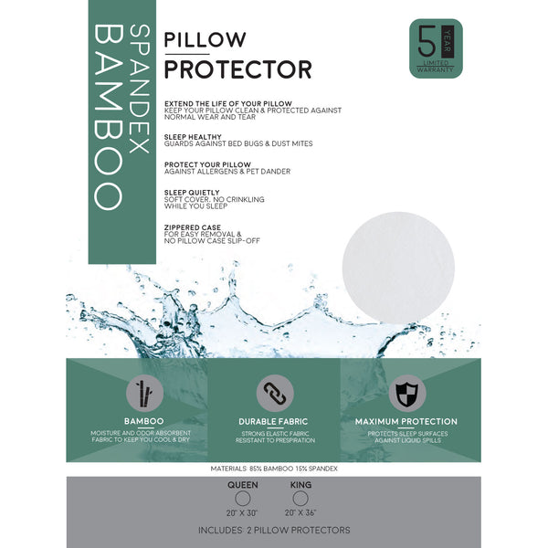 Premium Bamboo Pillow Protector - 100% Waterproof and Hypoallergenic Zipper Washable Cover - BlissfulNights.com