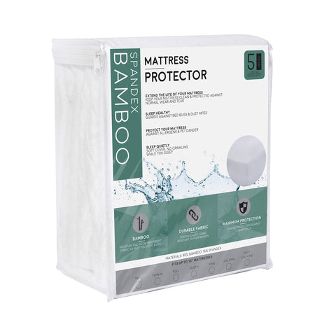 Premium Bamboo Mattress Protector - 100% Waterproof and Hypoallergenic