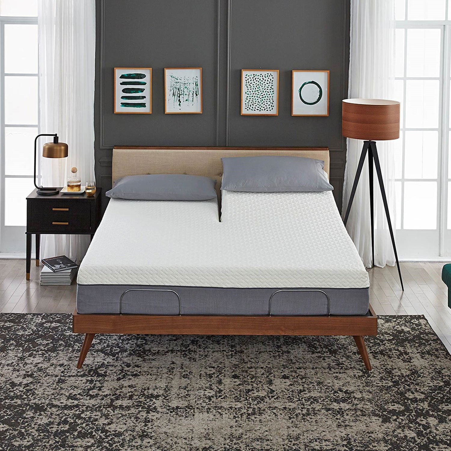 Picture of: Split Top King Adjustable Bed Frame Set With 12 Copper Gel Infused Flex Top Medium Firm Premium Memory Foam Mattress Blissfulnights Com