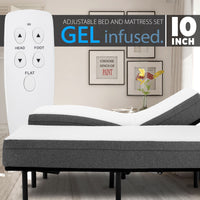 "Adjustable Bed Frame and 10"" Cool Gel Infused Medium Firm Memory Foam Mattress"