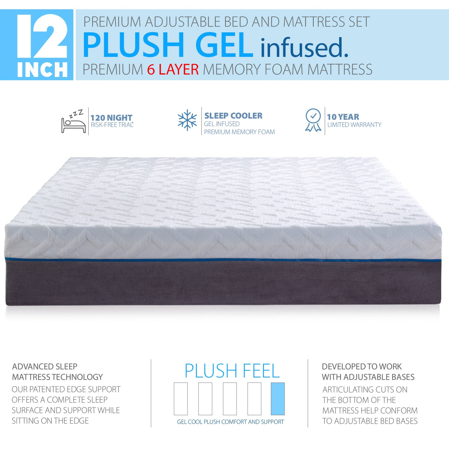 Premium Adjustable Bed Frame and 12 Inch Cool Gel Infused