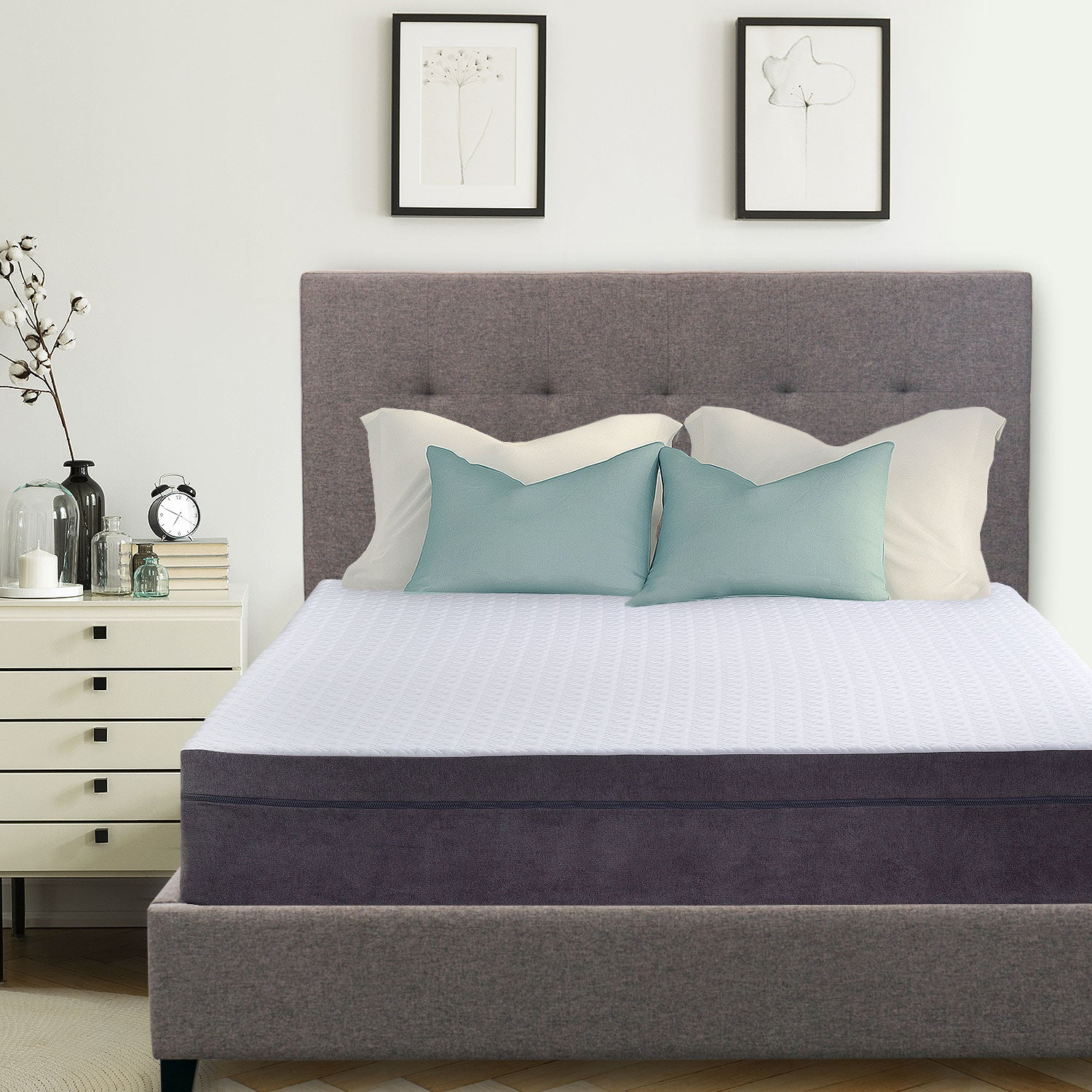 Hudson Upholstered Platform Bed 50 Tall Headboard Heather Gray