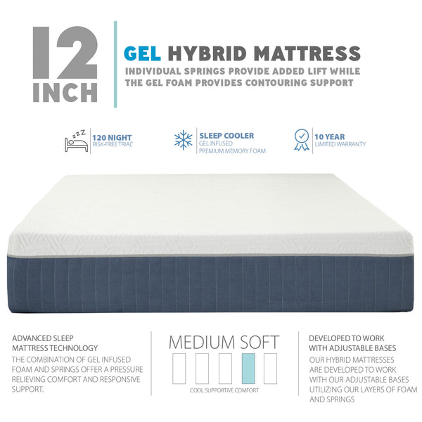 Premium Adjustable Bed Frame and 12 Inch Hybrid Cool Gel Infused Memory Foam Mattress