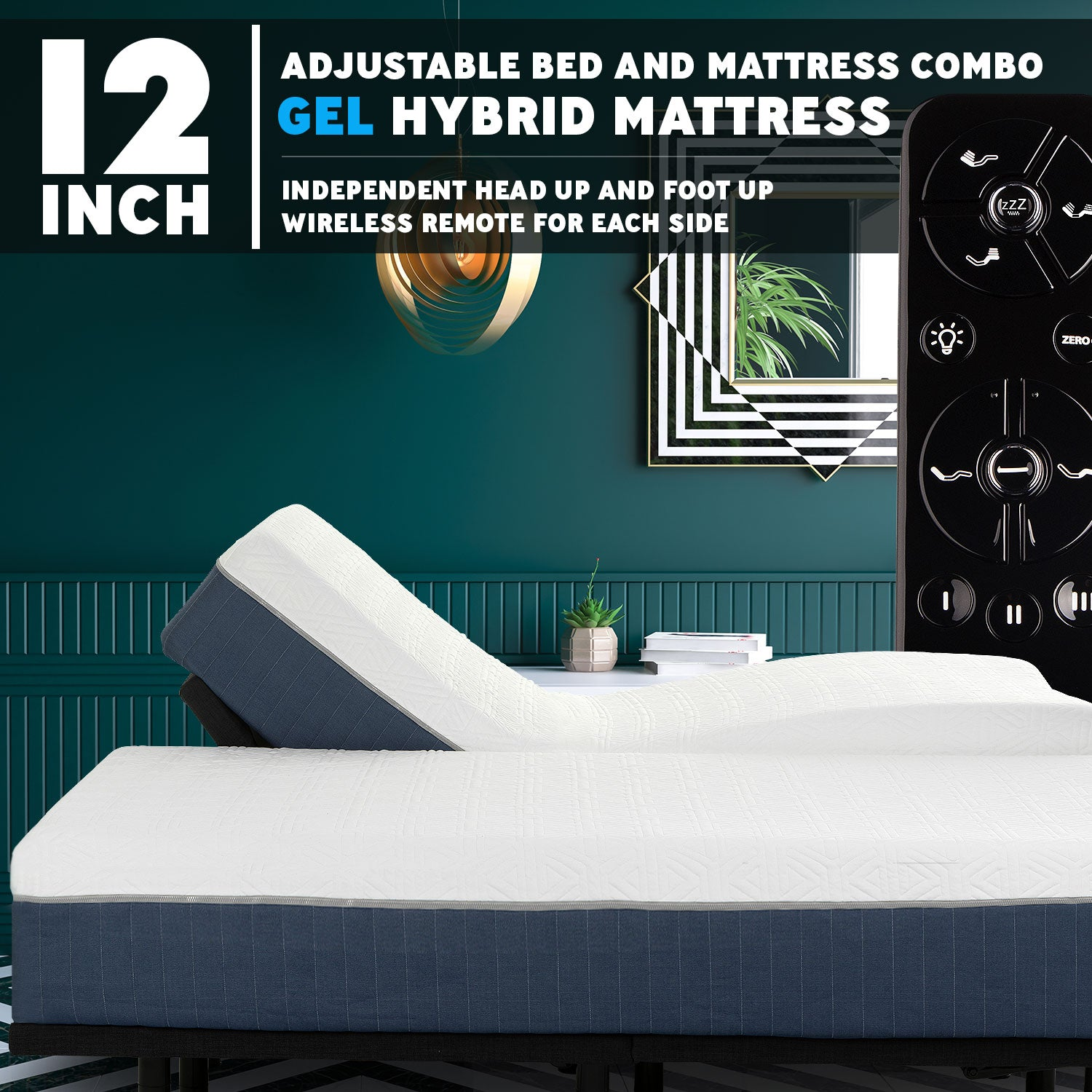 Picture of: Premium Adjustable Bed Frame And 12 Inch Hybrid Cool Gel Infused Memory Foam Mattress Blissfulnights Com