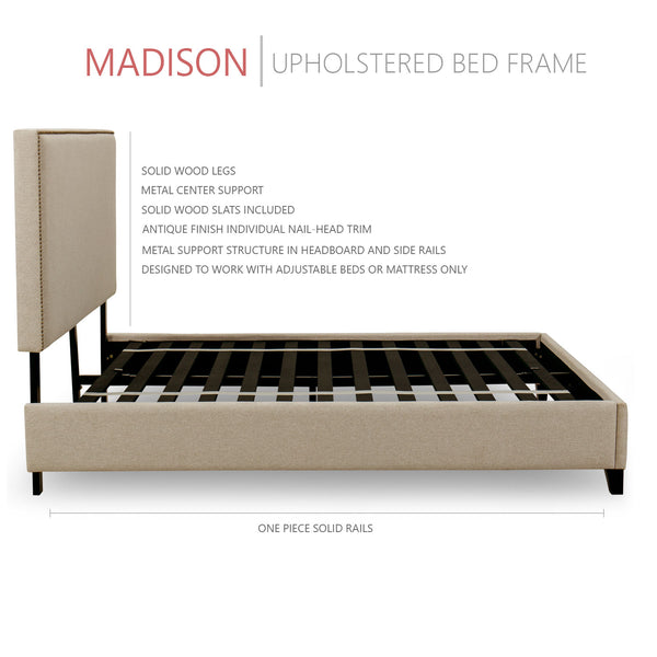 Madison Upholstered Platform Bed, 50