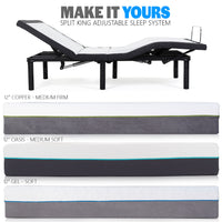 Build Your Own Custom Split King Adjustable Sleep System with power base and mattress