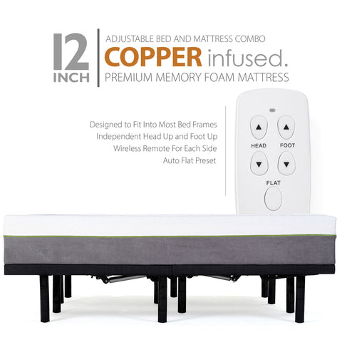 Adjustable Bed Frame and 12 Inch Copper Infused Cool Memory Foam Mattress