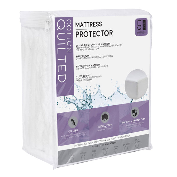 Fitted Quilted 100% Cotton Mattress Protector - 100% Waterproof and Hypoallergenic - BlissfulNights.com