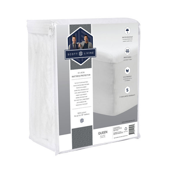 Scott Living Home - Premium 5-Sided Tencel Mattress Protector - 100% Waterproof and Hypoallergenic - BlissfulNights.com