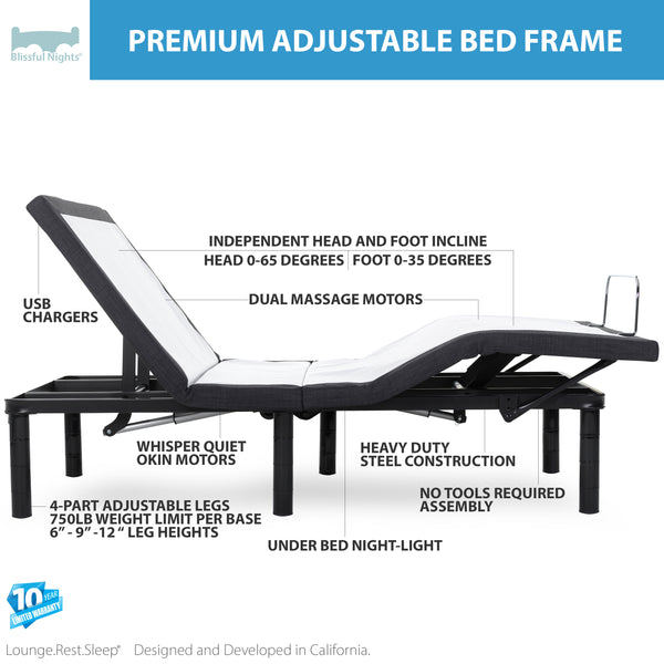 Premium Adjustable Bed Frame with Massage - BlissfulNights.com