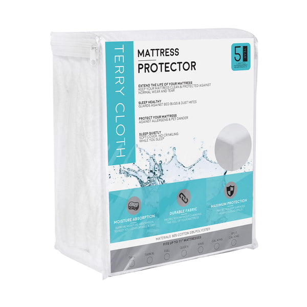 Fitted Cotton Terry Mattress Protector - 100% Waterproof and Hypoallergenic - BlissfulNights.com