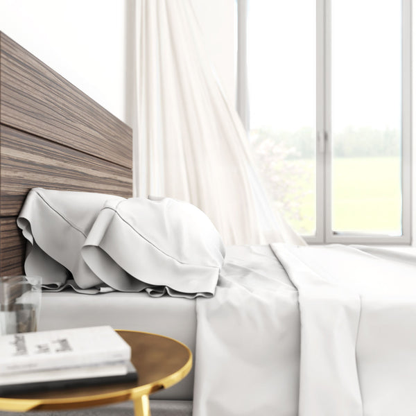 Bamboo Cotton Luxury Sheet Set - White - BlissfulNights.com