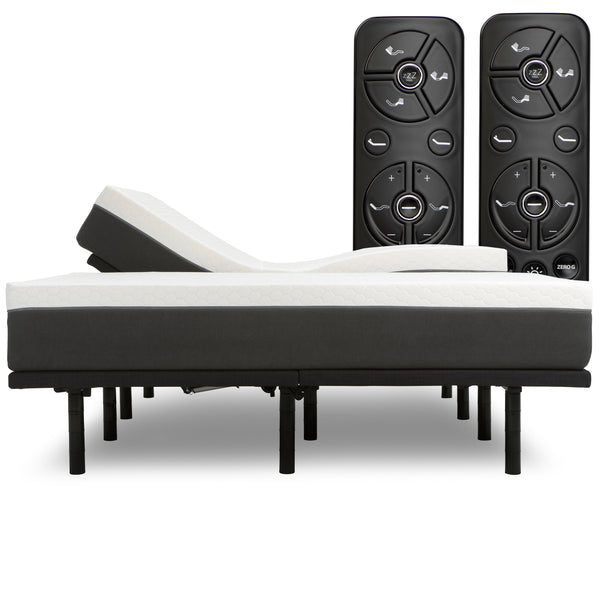 "Luxury Head Tilt Adjustable Bed Frame with 12"" Zoned Reactive Cooling Memory Foam Mattress Set - Medium - BlissfulNights.com"