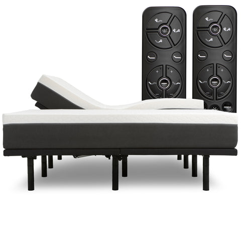"Luxury Head Tilt Adjustable Bed Frame with 12"" Zoned Reactive Cooling Memory Foam Mattress Set - Medium"