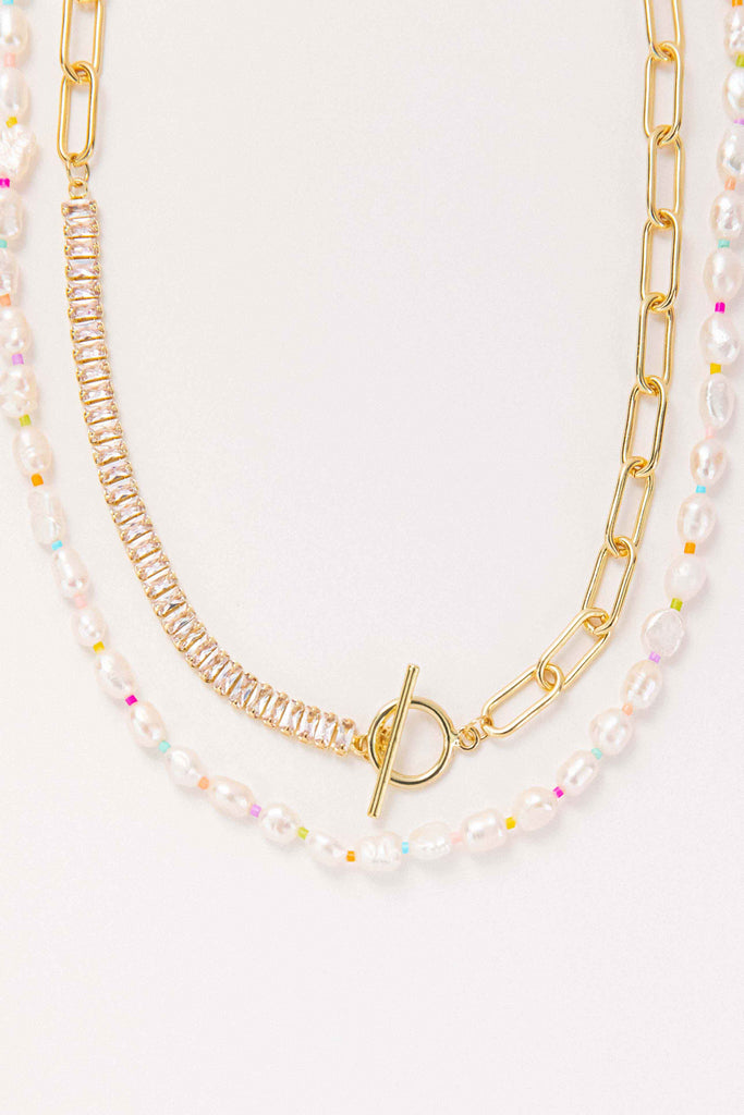 Demie + Rainbow Pearl Necklace