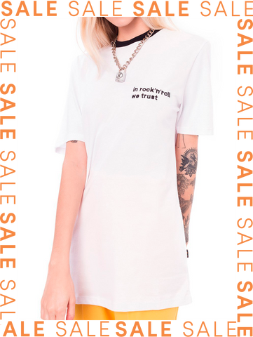 Camiseta IN ROCK'N'ROLL WE TRUST branca