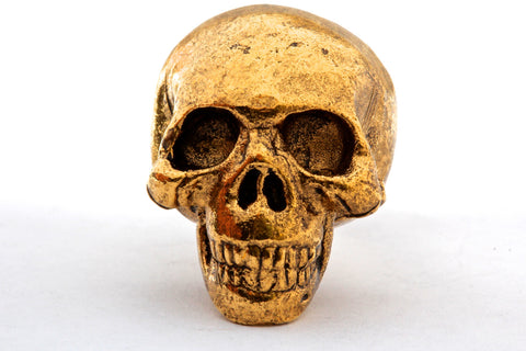 Skull Knob in solid metal antique gold finish made in NYC