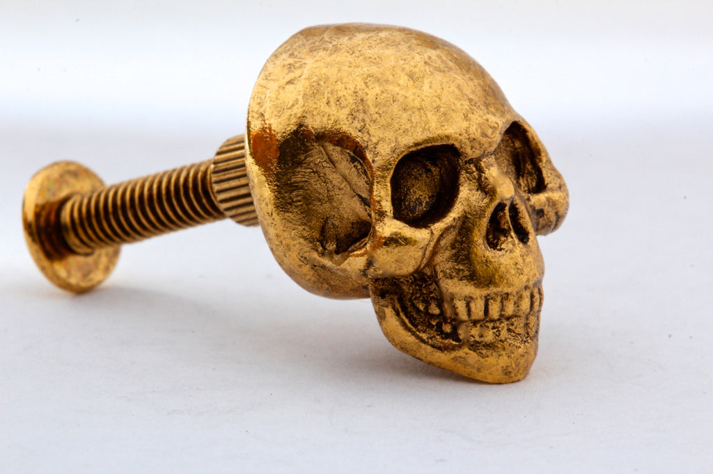 ... Skull Knob In Solid Metal Antique Gold Finish Made In NYC ...