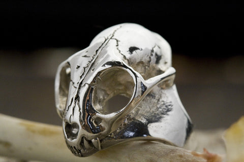 Bobcat Wild Cat Skull Ring in Sterling Silver
