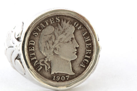 Barber Dime American Coin Ring In Sterling Silver Made in NYC