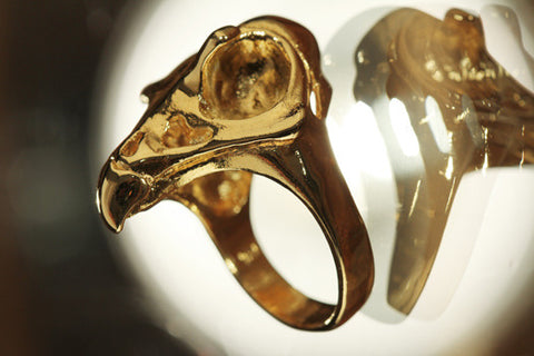 Falcon Skull Ring Solid 14k Gold