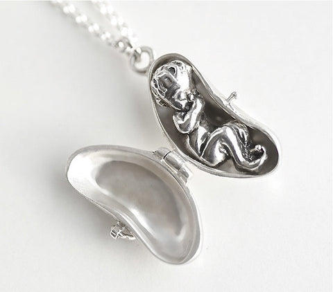 Precious baby in a bean locket sterling silver on a silver chain a Blue Bayer Design original made in NYC