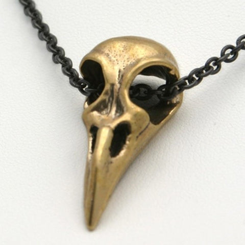 Raven Bird Skull Pendant in recycled bronze
