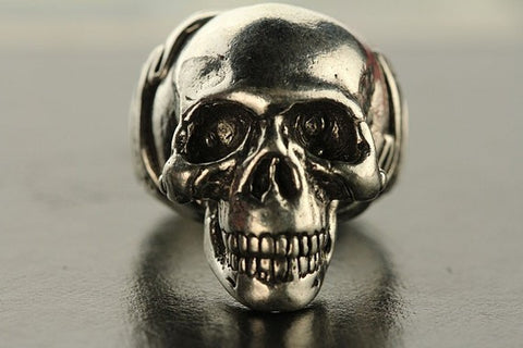 'Another Day Above Dirt' Human Skull Biker Ring