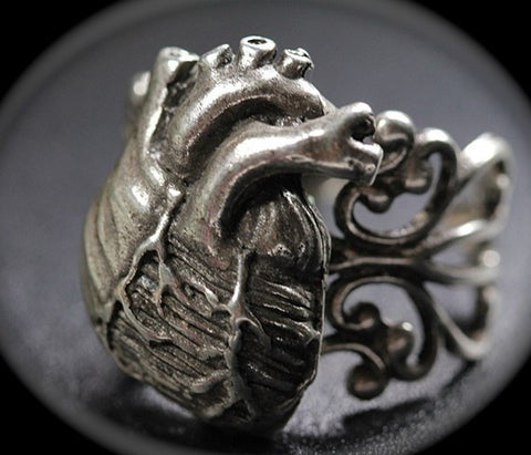 Anatomical Heart Ring with Filigree Band in antique silver